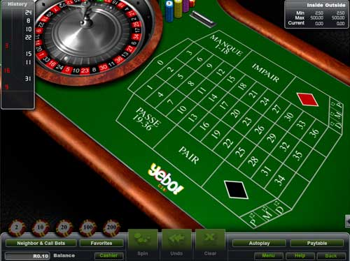 Yebo Casino Roulette Table Game: French Roulette